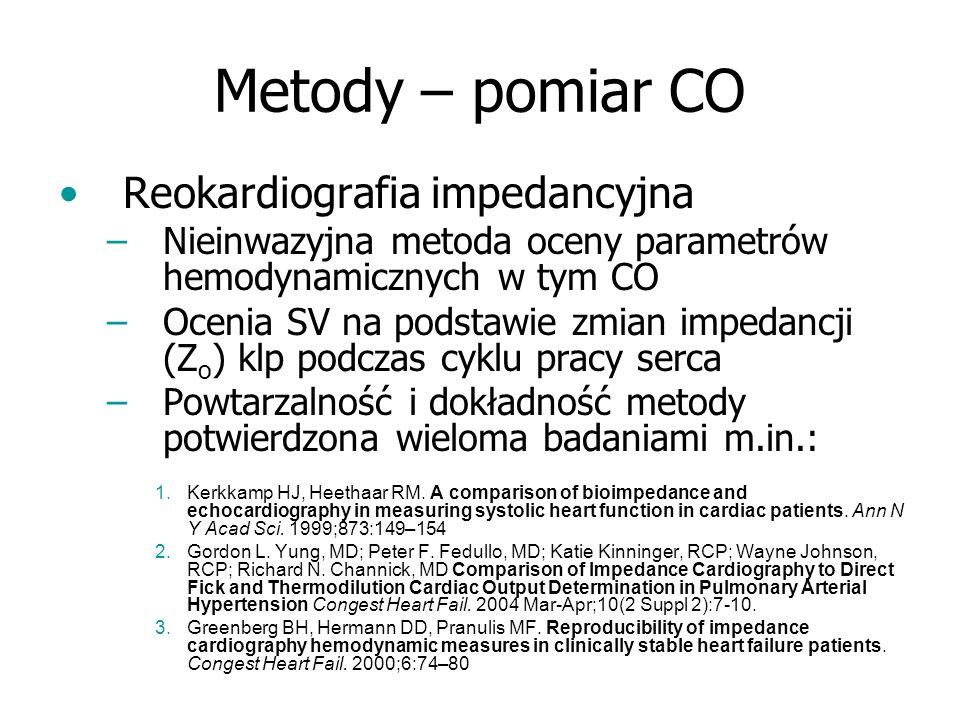 Metody – pomiar CO Reokardiografia impedancyjna –Nieinwazyjna metoda oceny parametrów hemodynamicznych w tym CO –Ocenia SV na podstawie zmian impedanc
