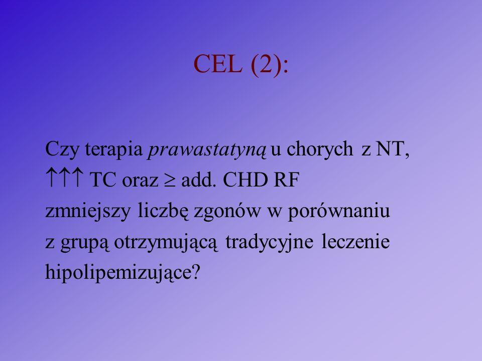 CEL (2): Czy terapia prawastatyną u chorych z NT, TC oraz add. CHD RF zmniejszy liczbę zgonów w porównaniu z grupą otrzymującą tradycyjne leczenie hip