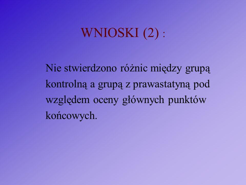 WNIOSKI (2) : Nie stwierdzono różnic między grupą kontrolną a grupą z prawastatyną pod względem oceny głównych punktów końcowych.