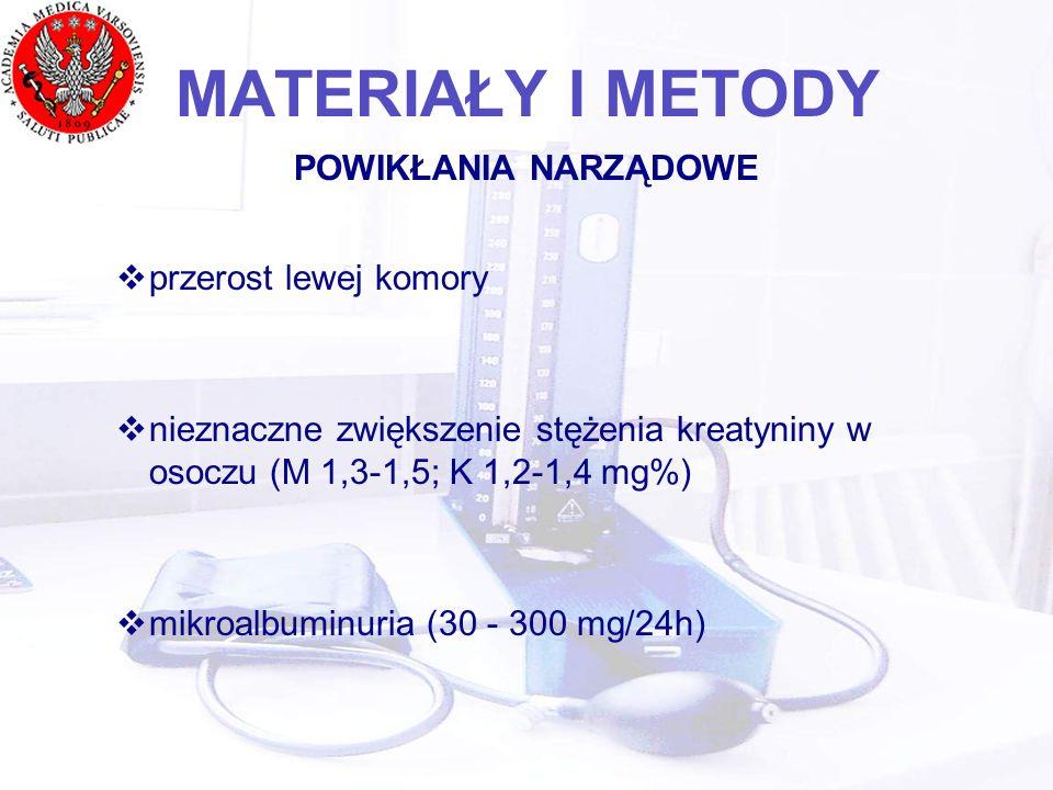 MATERIAŁY I METODY POWIKŁANIA NARZĄDOWE przerost lewej komory nieznaczne zwiększenie stężenia kreatyniny w osoczu (M 1,3-1,5; K 1,2-1,4 mg%) mikroalbuminuria (30 - 300 mg/24h)