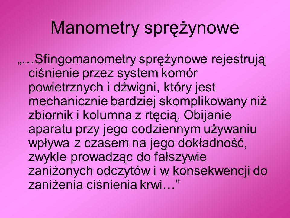 Manometry sprężynowe …Sfingomanometry sprężynowe rejestrują ciśnienie przez system komór powietrznych i dźwigni, który jest mechanicznie bardziej skom