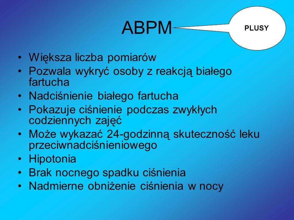 ABPM Większa liczba pomiarów Pozwala wykryć osoby z reakcją białego fartucha Nadciśnienie białego fartucha Pokazuje ciśnienie podczas zwykłych codzien