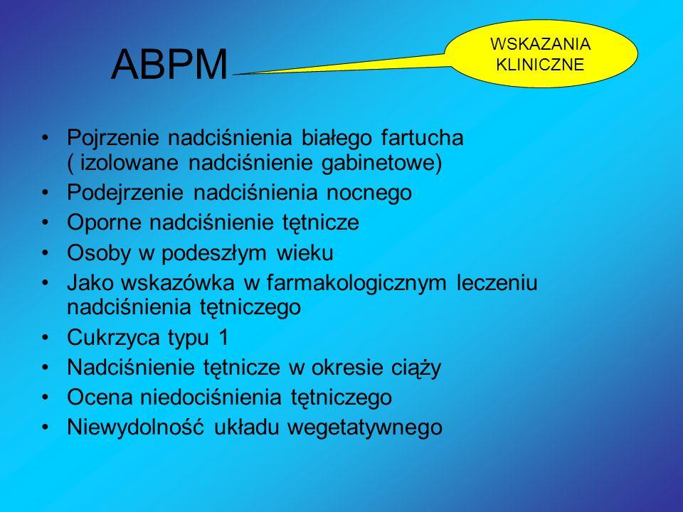 ABPM Pojrzenie nadciśnienia białego fartucha ( izolowane nadciśnienie gabinetowe) Podejrzenie nadciśnienia nocnego Oporne nadciśnienie tętnicze Osoby