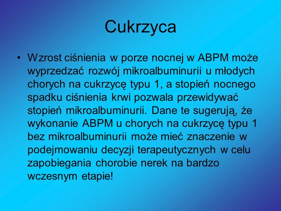 Cukrzyca Wzrost ciśnienia w porze nocnej w ABPM może wyprzedzać rozwój mikroalbuminurii u młodych chorych na cukrzycę typu 1, a stopień nocnego spadku