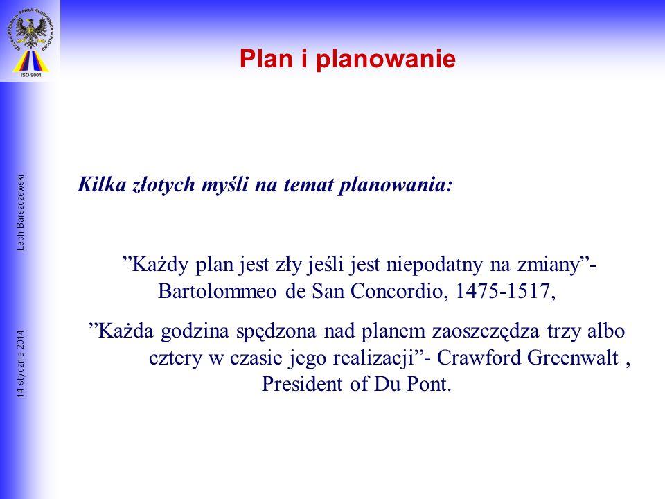 14 stycznia 2014 Lech Barszczewski Od celu do planu X niezbędne do realizacji celu X PLAN Czynności Zasoby Ludzie Czas Technologia Dekompozycja celów