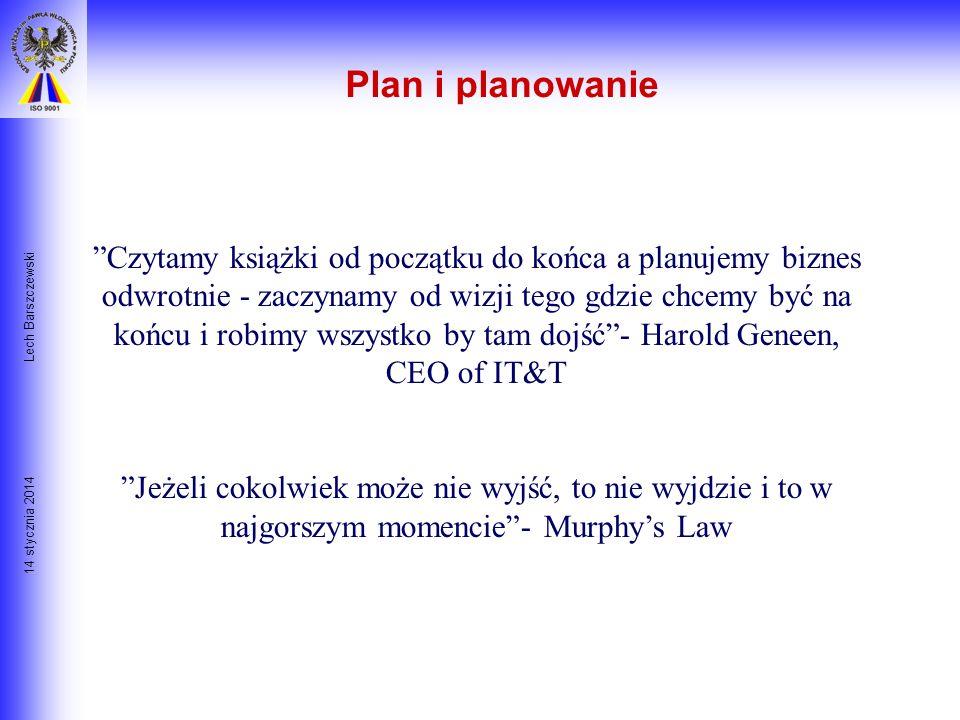 14 stycznia 2014 Lech Barszczewski Plan i planowanie Kilka złotych myśli na temat planowania: Każdy plan jest zły jeśli jest niepodatny na zmiany- Bar