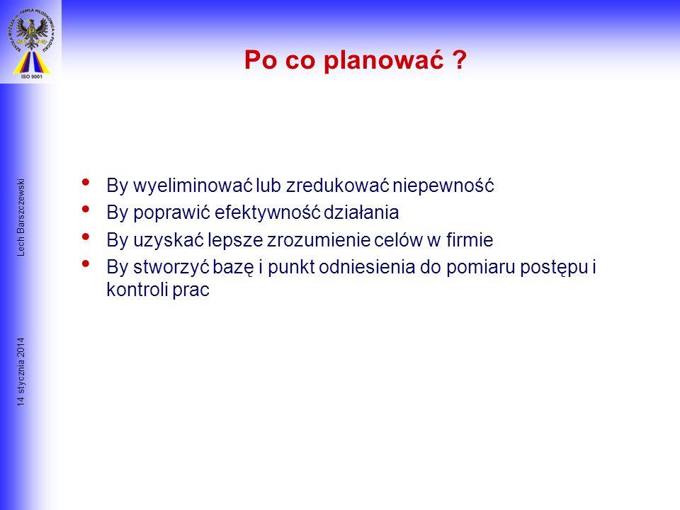 14 stycznia 2014 Lech Barszczewski Czy jest plan ? Plan jest szczegółowym określeniem: – Co ma zostać zrobione? – Przez kogo? – Kiedy ma zostać zrobio