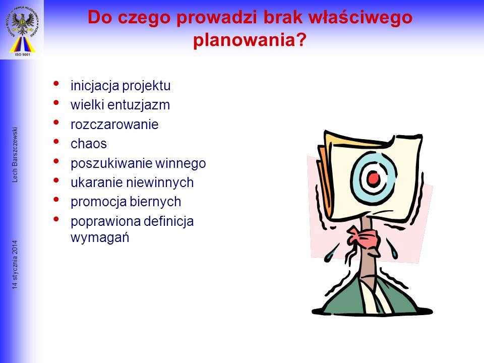 14 stycznia 2014 Lech Barszczewski Po co planować ? By wyeliminować lub zredukować niepewność By poprawić efektywność działania By uzyskać lepsze zroz
