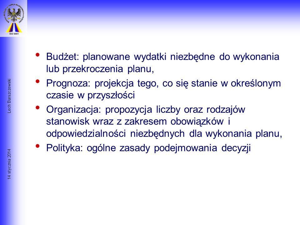 14 stycznia 2014 Lech Barszczewski 9 Głównych Składników Planowania Cel:cel nadrzędny, końcowy lub standard do osiągnięcia do określonej daty, Program