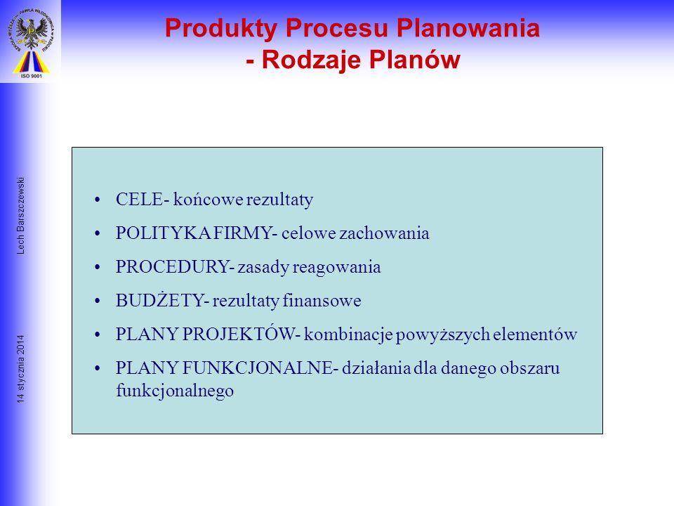 14 stycznia 2014 Lech Barszczewski Procedury: szczegółowe zasady realizacji polityki firmy Standard: poziom jakości działania osób lub grup oceniany j