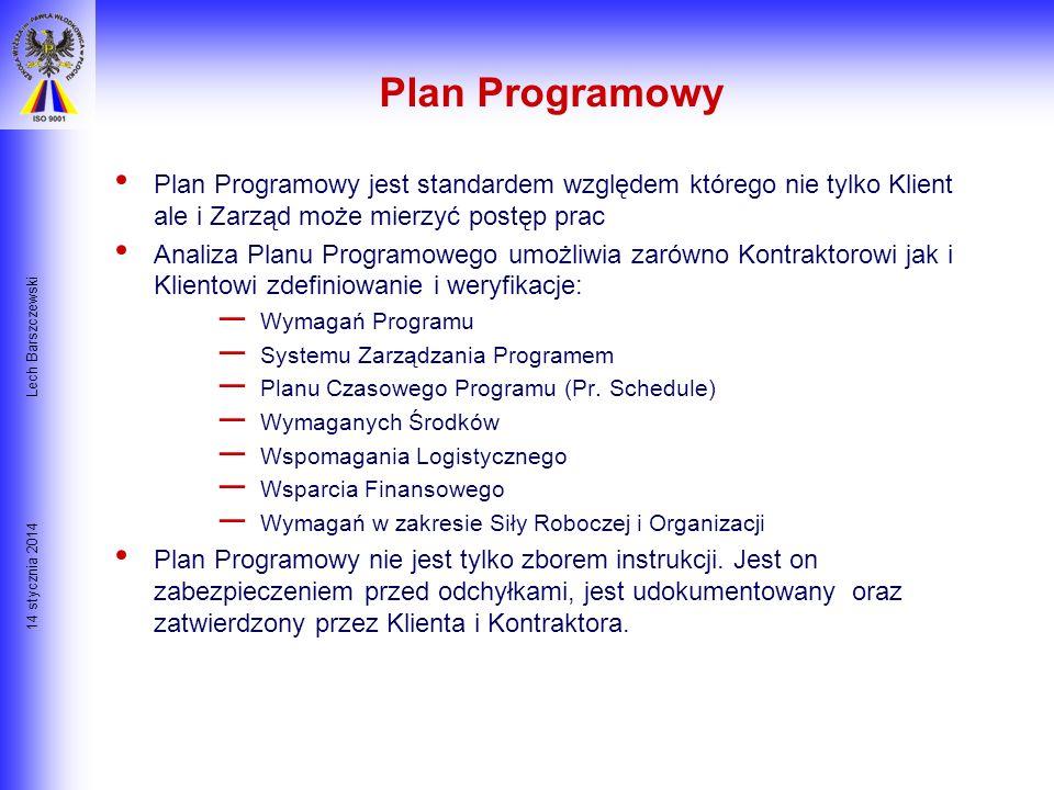 14 stycznia 2014 Lech Barszczewski Produkty Procesu Planowania - Rodzaje Planów CELE- końcowe rezultaty POLITYKA FIRMY- celowe zachowania PROCEDURY- z