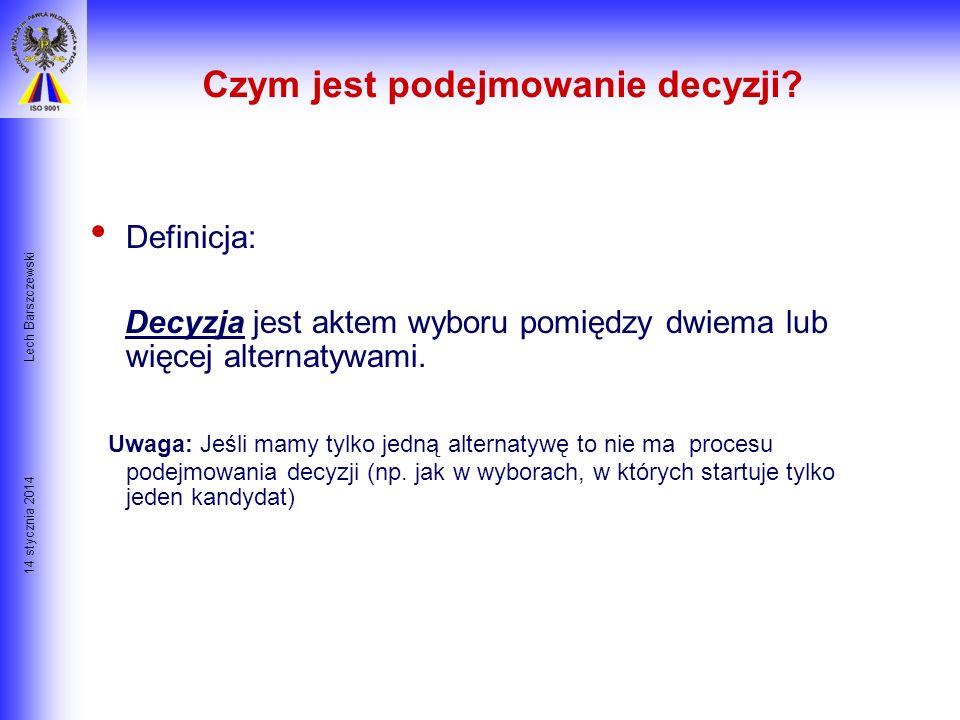 14 stycznia 2014 Lech Barszczewski Wprowadzenie Zarządzanie jest ciągłym procesem podejmowania decyzji dotyczących wszelkich aspektów funkcjonowania f