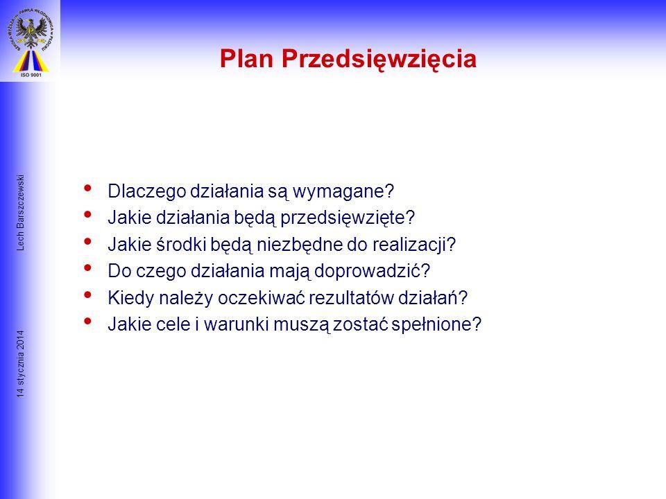 14 stycznia 2014 Lech Barszczewski Plan Programowy Plan Programowy jest standardem względem którego nie tylko Klient ale i Zarząd może mierzyć postęp