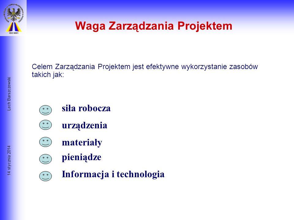 14 stycznia 2014 Lech Barszczewski Plan Przedsięwzięcia Dlaczego działania są wymagane? Jakie działania będą przedsięwzięte? Jakie środki będą niezbęd