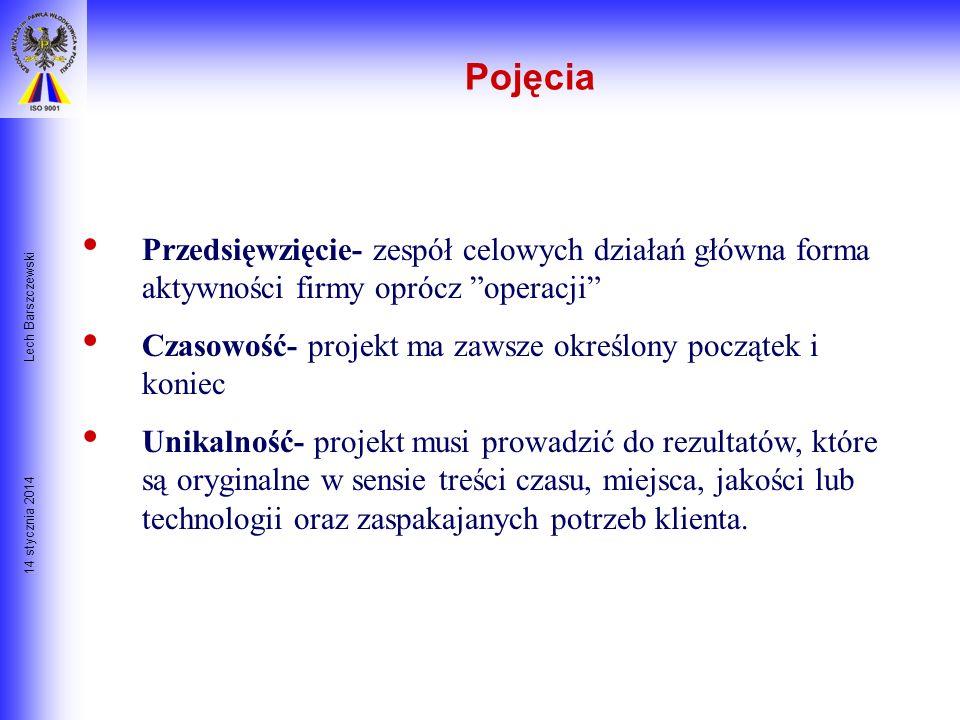 14 stycznia 2014 Lech Barszczewski Słownik Pojęć PROJEKT Definicja: Projekt jest ograniczonym czasowo przedsięwzięciem w celu wytworzenia unikalnego p