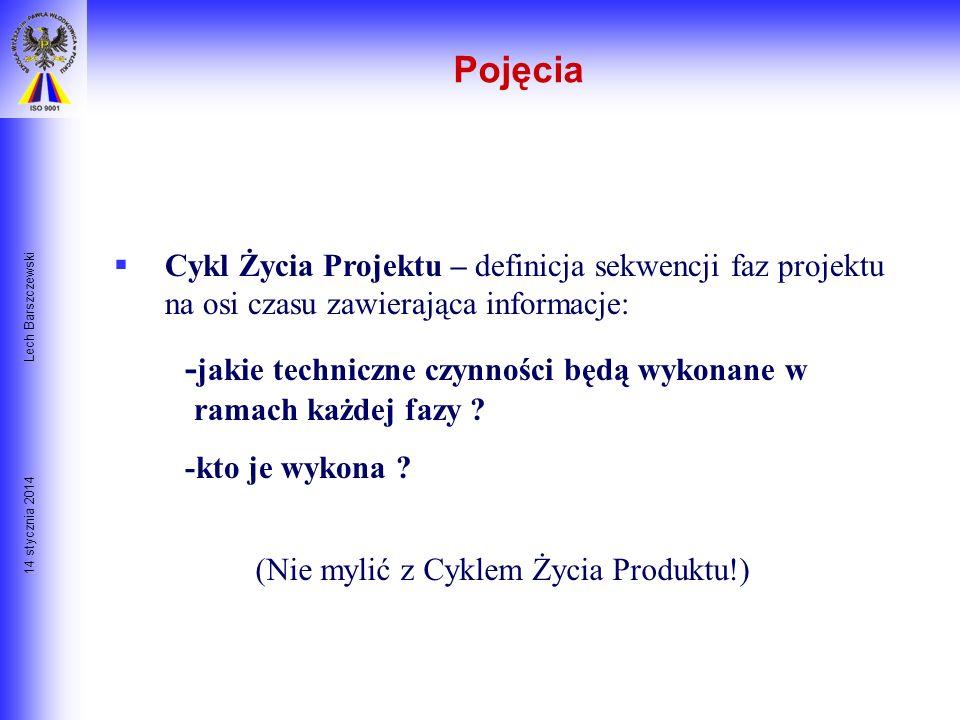 14 stycznia 2014 Lech Barszczewski Faza Projektu- etap projektu, który kończy się określonym mierzalnym rezultatem takim jak raport feasibility study,