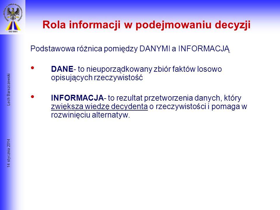 14 stycznia 2014 Lech Barszczewski Czym jest podejmowanie decyzji? Definicja: Decyzja jest aktem wyboru pomiędzy dwiema lub więcej alternatywami. Uwag