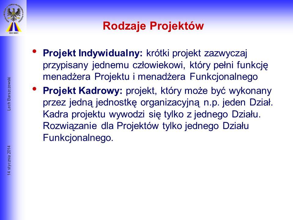 14 stycznia 2014 Lech Barszczewski Przykład Cyklu Projektowego Określenie Potrzeby Projektu Faza IFaza IIFaza IIIFaza IV Decyzja o rozpoczęciu Projekt