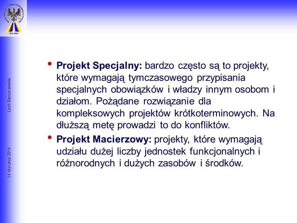 14 stycznia 2014 Lech Barszczewski Rodzaje Projektów Projekt Indywidualny: krótki projekt zazwyczaj przypisany jednemu człowiekowi, który pełni funkcj
