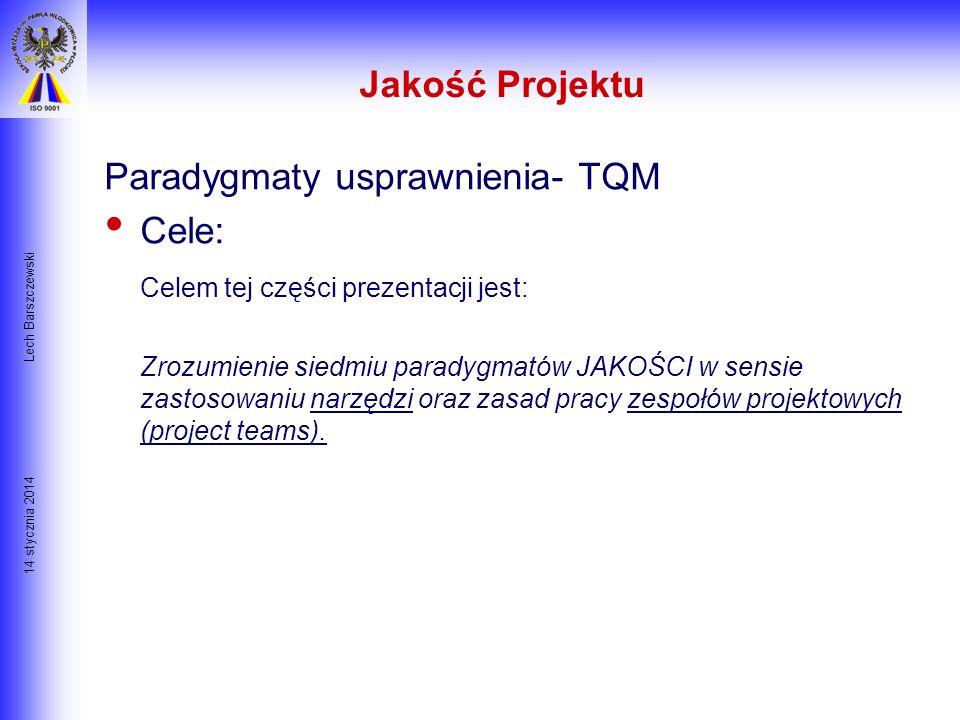 14 stycznia 2014 Lech Barszczewski Istota Zarządzania Przedsięwzięciem CZASKOSZT $$$ Jakość utrzymanie równowagi pomiędzy trzema elementami: