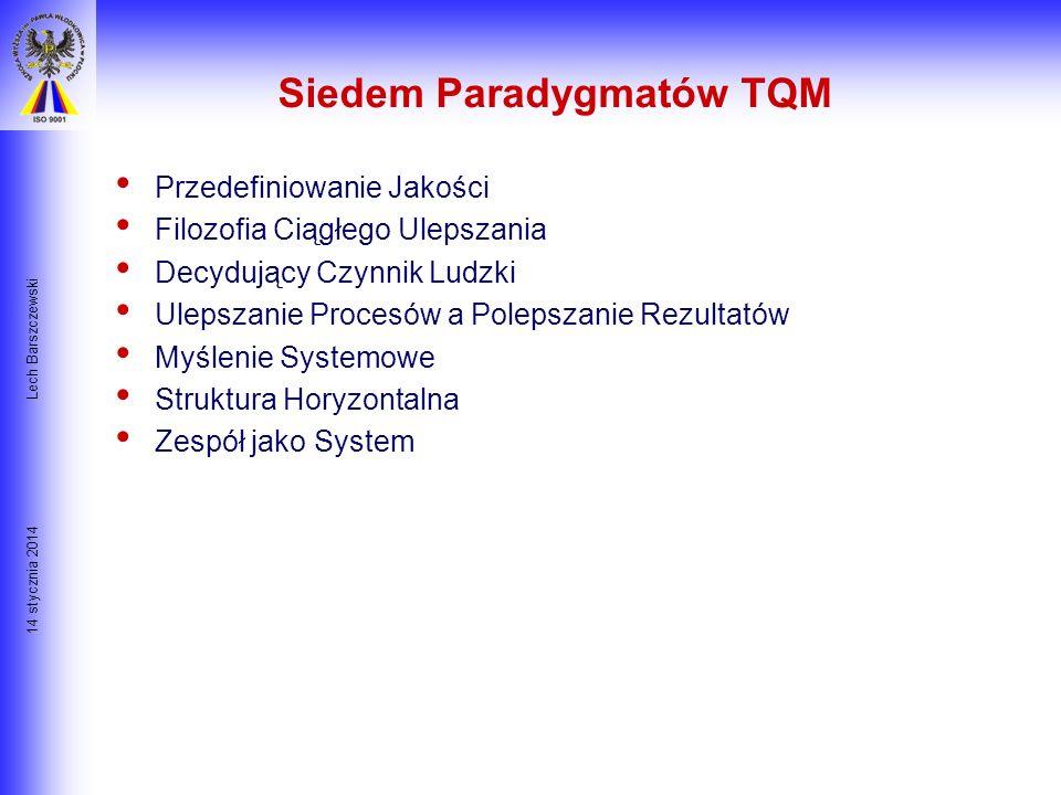 14 stycznia 2014 Lech Barszczewski Jakość Projektu Paradygmaty usprawnienia- TQM Cele: Celem tej części prezentacji jest: Zrozumienie siedmiu paradygm