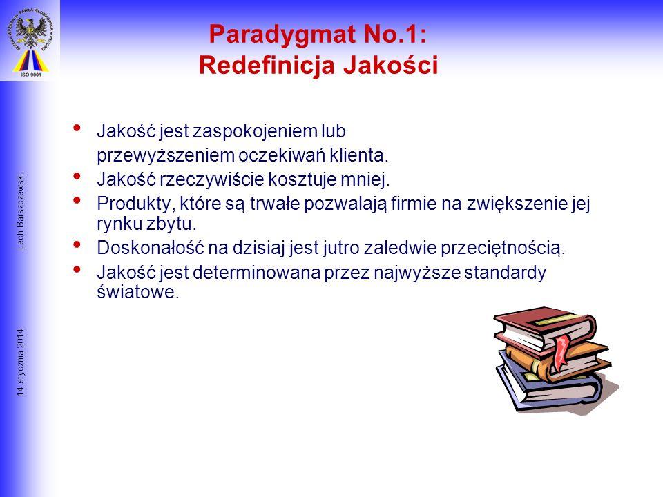 14 stycznia 2014 Lech Barszczewski Siedem Paradygmatów TQM Przedefiniowanie Jakości Filozofia Ciągłego Ulepszania Decydujący Czynnik Ludzki Ulepszanie