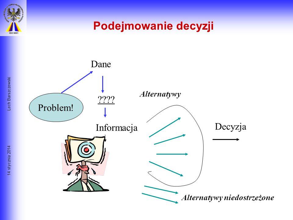 14 stycznia 2014 Lech Barszczewski Rola informacji w podejmowaniu decyzji Podstawowa różnica pomiędzy DANYMI a INFORMACJĄ DANE- to nieuporządkowany zb