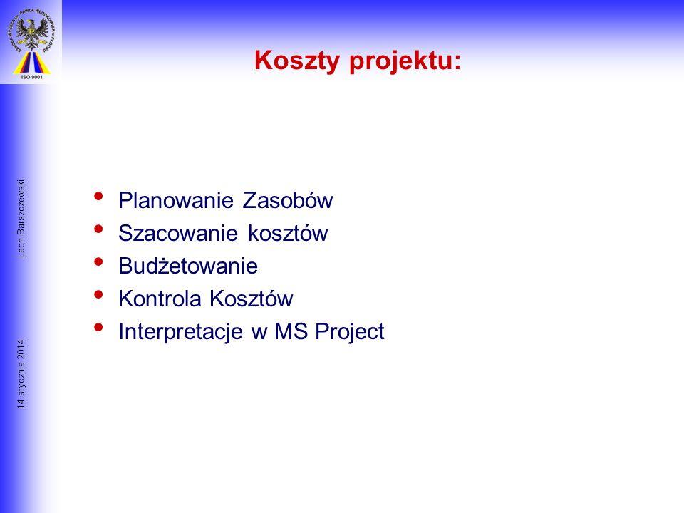 14 stycznia 2014 Lech Barszczewski Istota Zarządzania Przedsięwzięciem Czas KOSZT $$$ Jakość Utrzymanie równowagi pomiędzy trzema elementami: