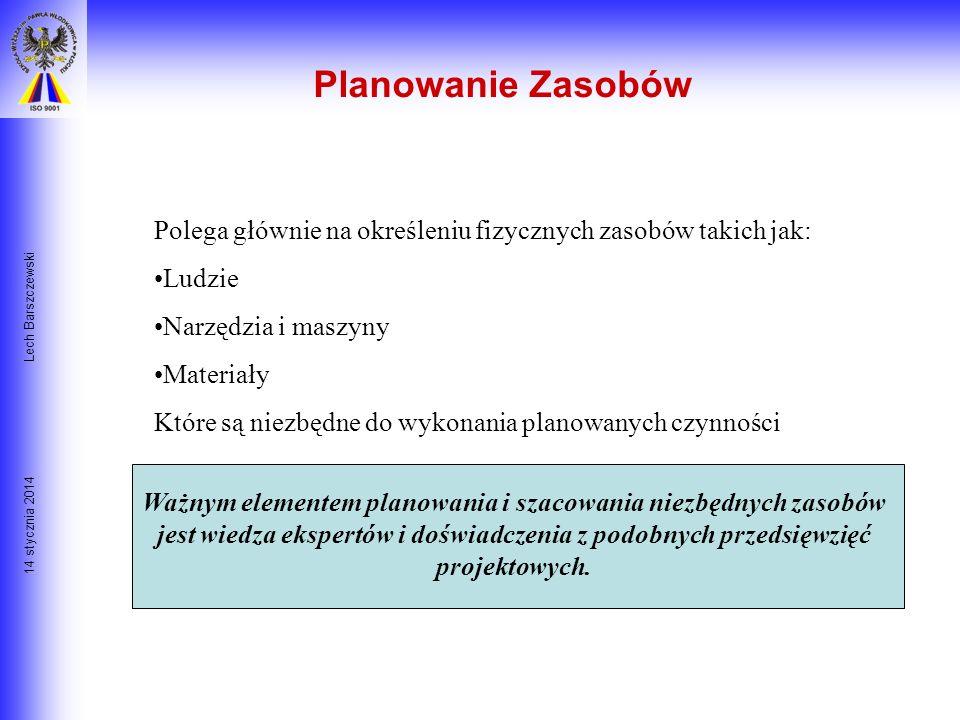14 stycznia 2014 Lech Barszczewski Koszty projektu: Planowanie Zasobów Szacowanie kosztów Budżetowanie Kontrola Kosztów Interpretacje w MS Project