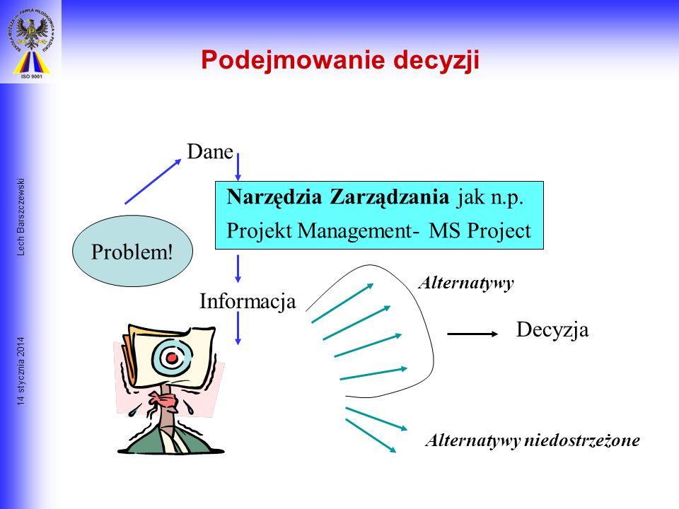 14 stycznia 2014 Lech Barszczewski Podejmowanie decyzji Dane ???? Informacja Problem! Alternatywy Alternatywy niedostrzeżone Decyzja
