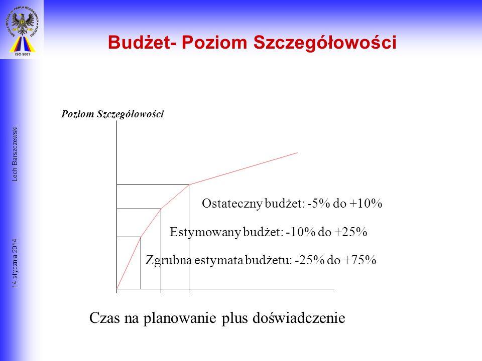 14 stycznia 2014 Lech Barszczewski Budżetowanie Dwie informacje stanowiące wejście do procesu budżetowania to: - WBS (Work Breakdown Structure) strukt