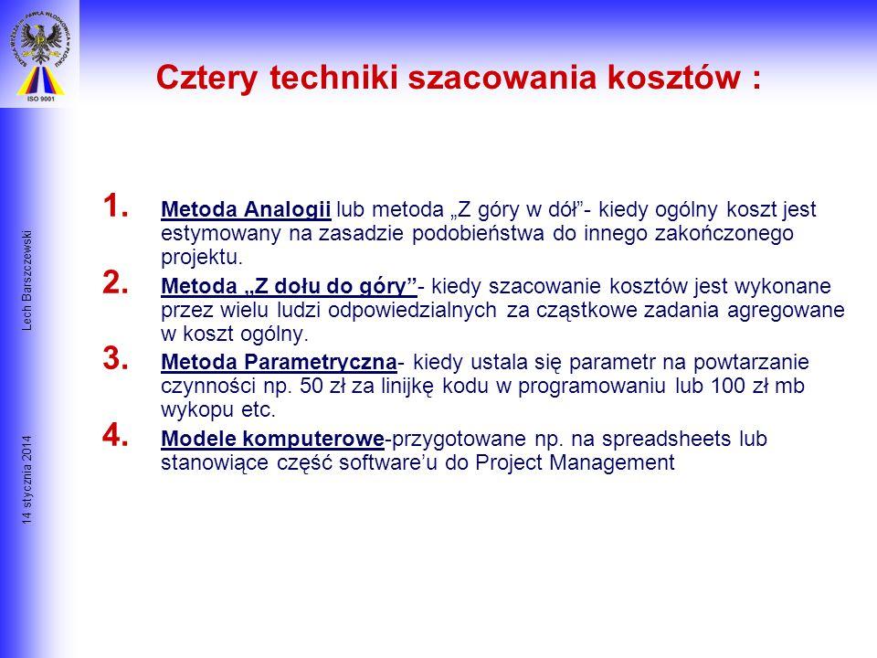 14 stycznia 2014 Lech Barszczewski Dodatkowe Składniki Kosztów Koszty ogólne (narzuty) Energia, woda, telefony Wynajem, komputery, administracja, podr