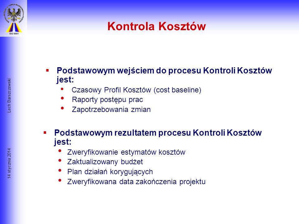 14 stycznia 2014 Lech Barszczewski Cztery techniki szacowania kosztów : 1. Metoda Analogii lub metoda Z góry w dół- kiedy ogólny koszt jest estymowany