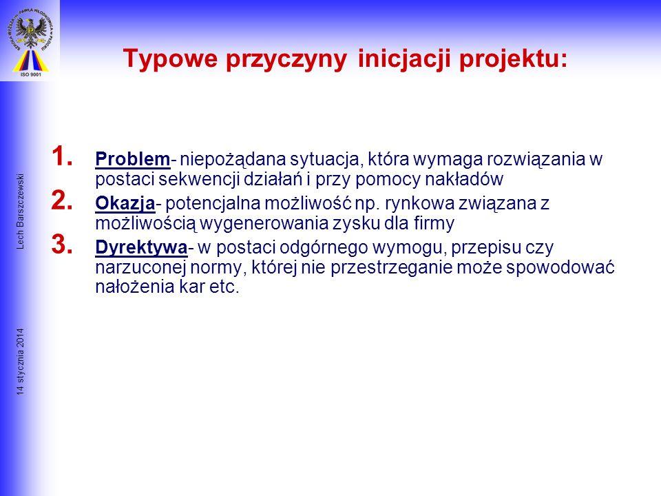 14 stycznia 2014 Lech Barszczewski Czas i Zakres Projektu Inicjacja Projektu Planowanie Zakresu Projektu Definicja Zakresu Projektu Weryfikacja i Kont