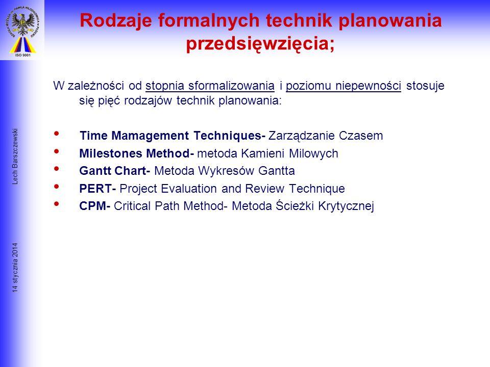 14 stycznia 2014 Lech Barszczewski Opis prac i instrukcje PERT/CPM Harmonogr. Budzet Raporty Czas/Koszt Kontrola Cele Decyzje Planowanie projektu/ Kon