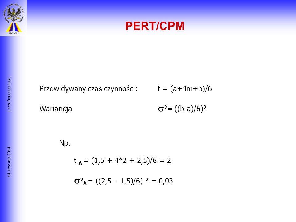 14 stycznia 2014 Lech Barszczewski PERT/CPM Czas czynności, oszacowany w tygodniach, wynosi: CzynnośćZałożeniaZałożenia Założenia optymistyczne prawdo