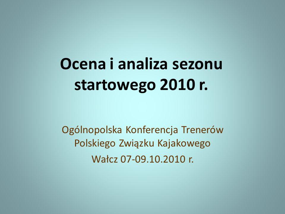 Ocena i analiza sezonu startowego 2010 r. Ogólnopolska Konferencja Trenerów Polskiego Związku Kajakowego Wałcz 07-09.10.2010 r.