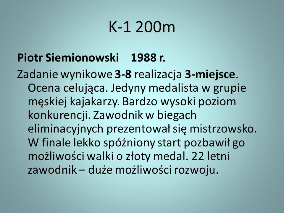 K-1 200m Piotr Siemionowski 1988 r. Zadanie wynikowe 3-8 realizacja 3-miejsce. Ocena celująca. Jedyny medalista w grupie męskiej kajakarzy. Bardzo wys