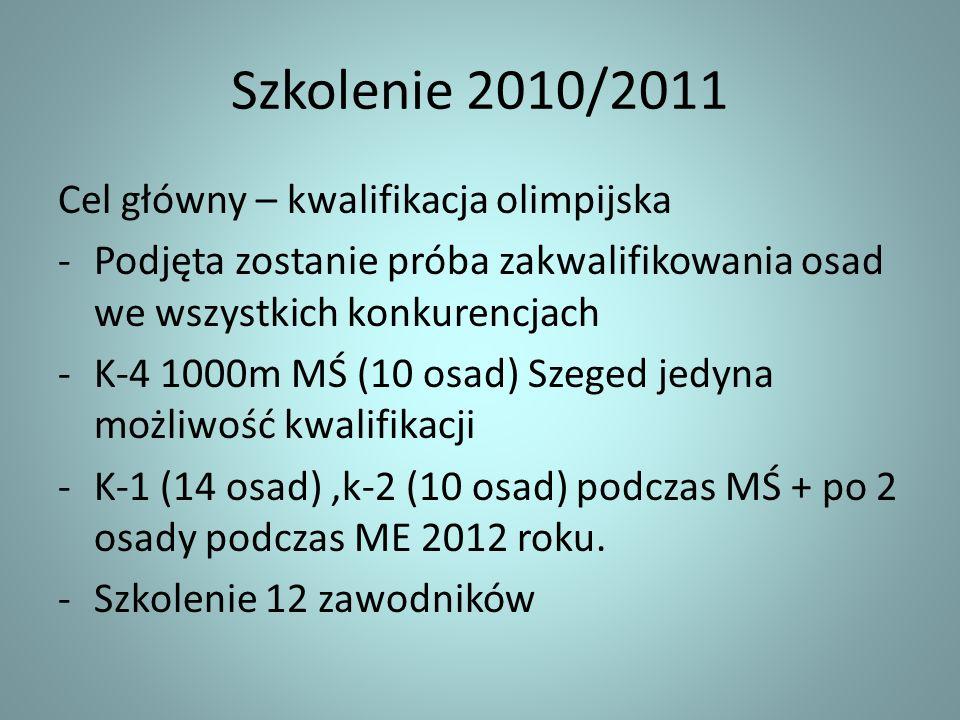 Szkolenie 2010/2011 Cel główny – kwalifikacja olimpijska -Podjęta zostanie próba zakwalifikowania osad we wszystkich konkurencjach -K-4 1000m MŚ (10 o
