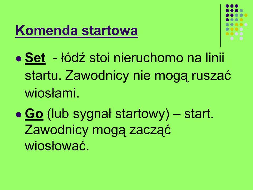 Komenda startowa Jeżeli zawodnik zacznie wiosłować po słowie set, a przed go (lub sygnałem startowym) popełni falstart.
