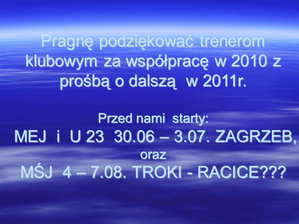 Pragnę podziękować trenerom klubowym za współpracę w 2010 z prośbą o dalszą w 2011r. Przed nami starty: MEJ i U 23 30.06 – 3.07. ZAGRZEB, oraz MŚJ 4 –