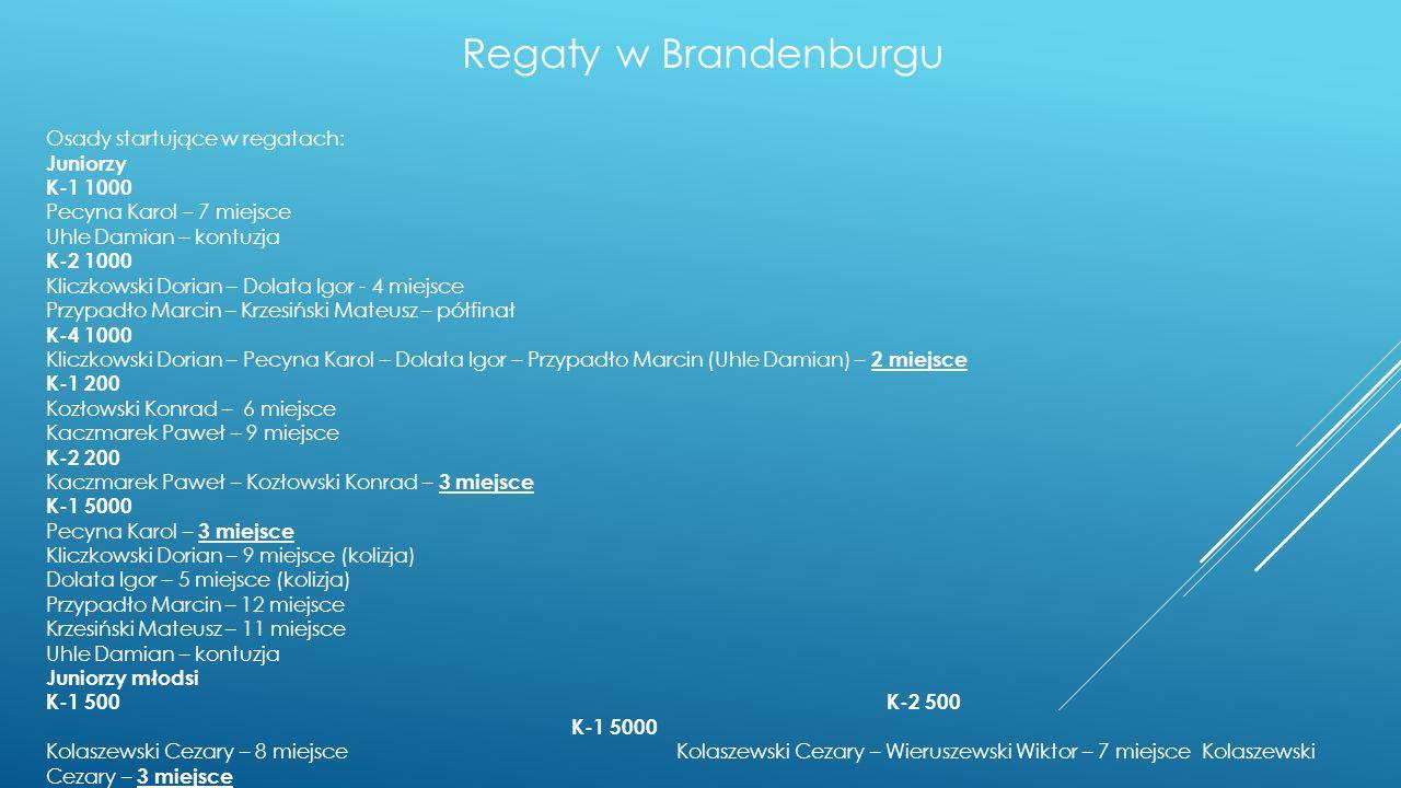 Regaty w Piestanach Lista osób powołanych na zgrupowanie: 1.Kolaszewski Cezary-1996-Zawisza Bydgoszcz- II miejsce K-1 1000 Jun.