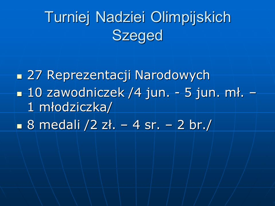 Turniej Nadziei Olimpijskich Szeged 27 Reprezentacji Narodowych 27 Reprezentacji Narodowych 10 zawodniczek /4 jun. - 5 jun. mł. – 1 młodziczka/ 10 zaw