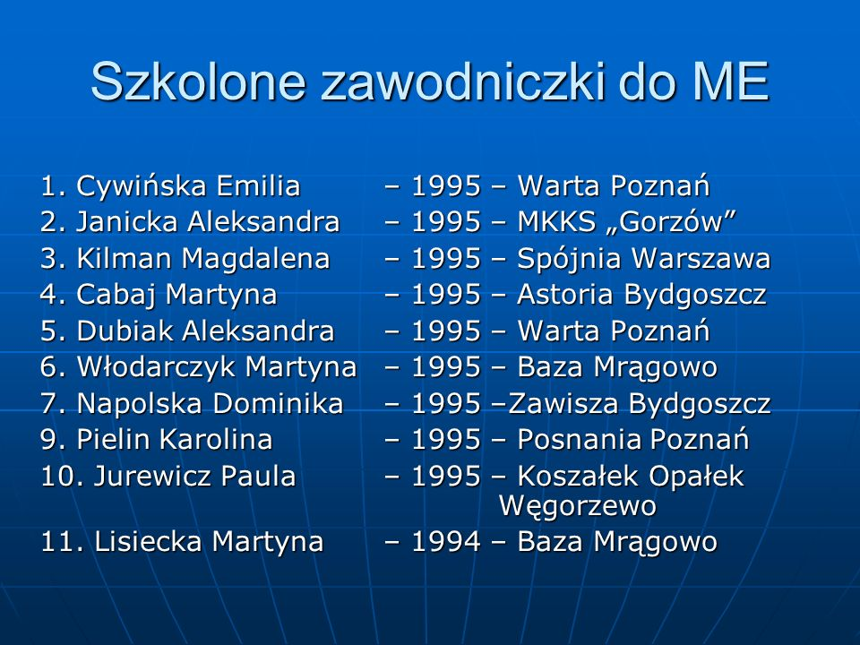 Szkolone zawodniczki do ME 1. Cywińska Emilia – 1995 – Warta Poznań 2. Janicka Aleksandra – 1995 – MKKS Gorzów 3. Kilman Magdalena – 1995 – Spójnia Wa