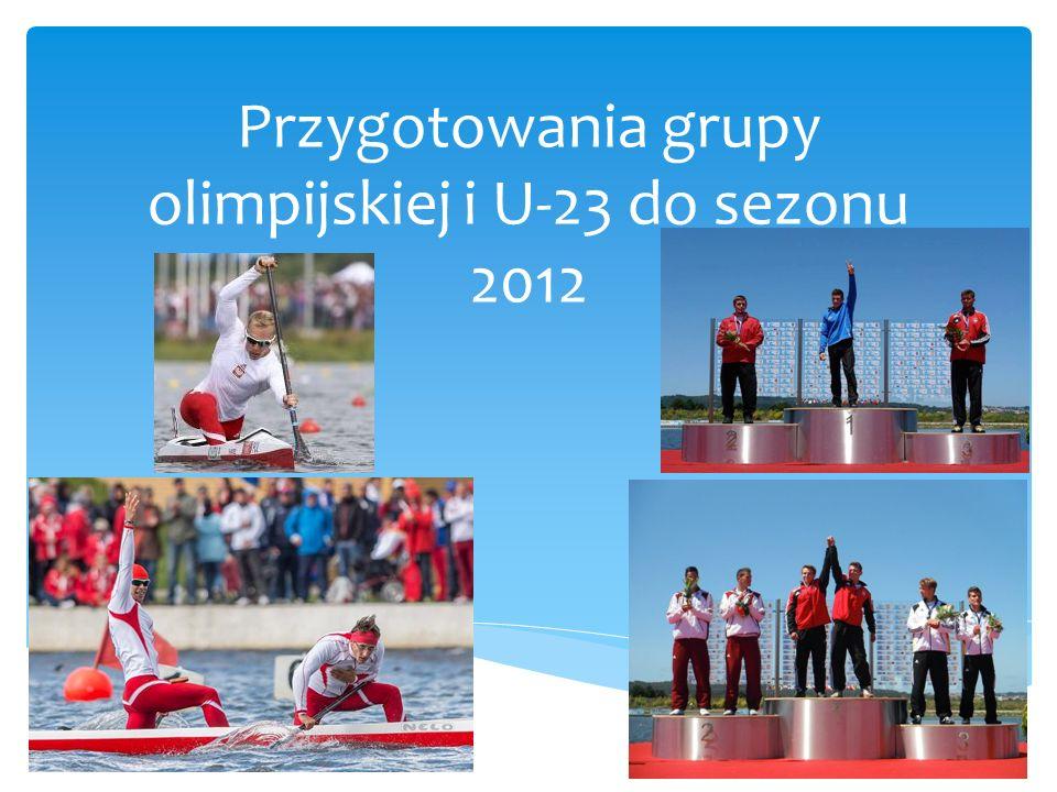 Zdobycie kwalifikacji olimpijskiej dla łodzi C-2 1000 m Budowa silnego zaplecza kadry już w kontekście IO w 2016 roku Walka o 2 medale w konkurencjach olimpijskich na ME U-2 w Montemor 2012 –Portugalia Cele grupy olimpijskiej i U-23
