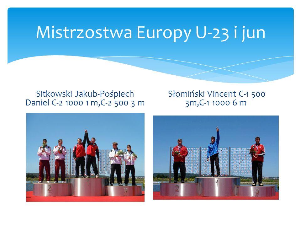 Mistrzostwa Europy U-23 i jun Sitkowski Jakub-Pośpiech Daniel C-2 1000 1 m,C-2 500 3 m Słomiński Vincent C-1 500 3m,C-1 1000 6 m