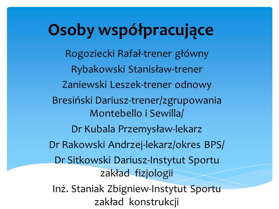 Osoby współpracujące Rogoziecki Rafał-trener główny Rybakowski Stanisław-trener Zaniewski Leszek-trener odnowy Bresiński Dariusz-trener/zgrupowania Mo