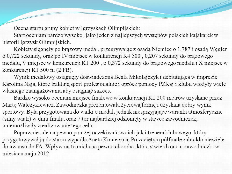 Ocena startu grupy kobiet w Igrzyskach Olimpijskich: Start oceniam bardzo wysoko, jako jeden z najlepszych występów polskich kajakarek w historii Igrz