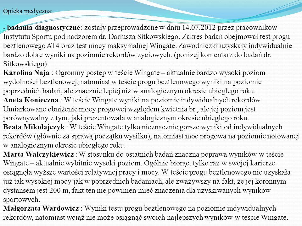 Opieka medyczna: - badania diagnostyczne: zostały przeprowadzone w dniu 14.07.2012 przez pracowników Instytutu Sportu pod nadzorem dr. Dariusza Sitkow