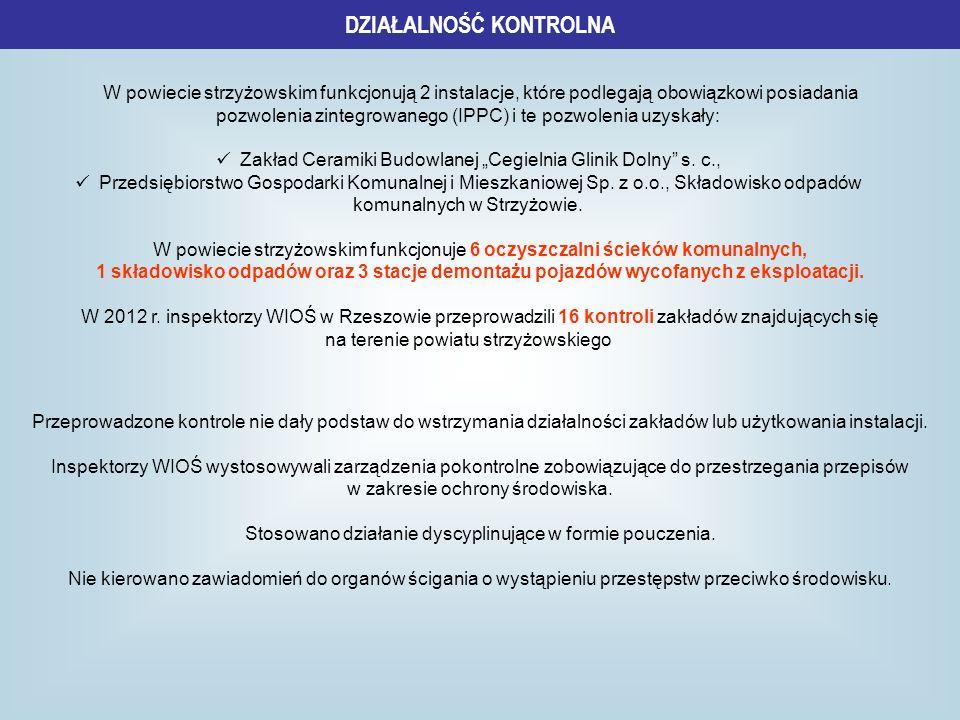DZIAŁALNOŚĆ KONTROLNA W powiecie strzyżowskim funkcjonują 2 instalacje, które podlegają obowiązkowi posiadania pozwolenia zintegrowanego (IPPC) i te p